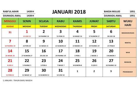 Kalender 2018 Bulan Februari Jawa Kalender Bulan Januari 2018 1 Printable 2018 Calendar