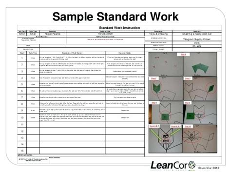 standard work excel template lean standard or standardized work module web