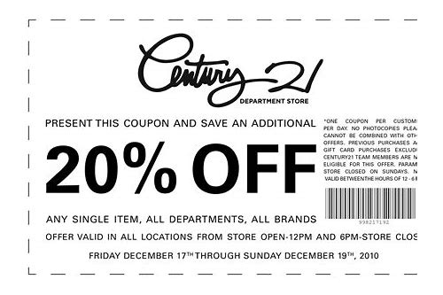century 21 stores 25 off printable coupon