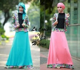 Gamis Blazer Wolfis Batik Katun Silk Dress Maxi Dress gamis remaja helena blazer s193 koleksi busana muslimah
