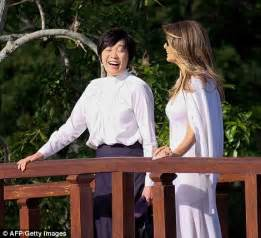 melania trump steps out with japan pm's wife in florida