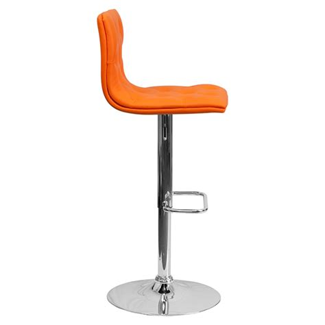 Orange Faux Leather Bar Stools by Faux Leather Barstool Orange Button Tufted Adjustable