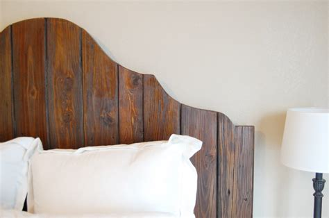 wooden rustic headboard remodelaholic curvy reclaimed wood headboard tutorial