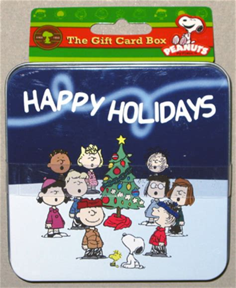 Christmas Gift Card Holder Box - peanuts gang around christmas tree gift card holder box collectpeanuts com
