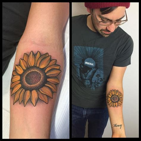 sunflower tattoo by laura jade tattoonow