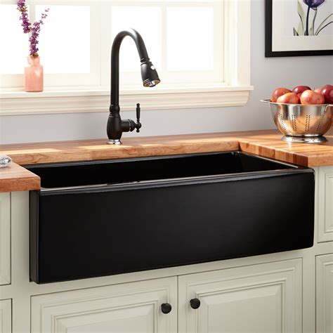 36 quot dorhester fireclay reversible farmhouse sink smooth apron black kitchen