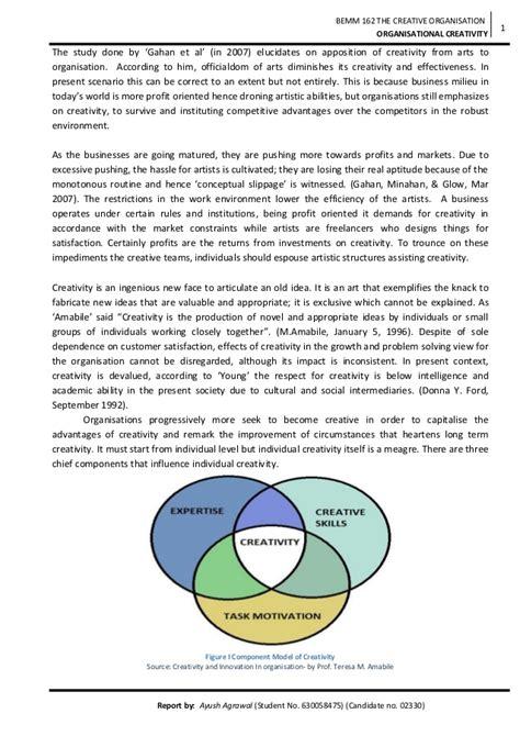 Creativity Essay by Essay On Organisational Creativity