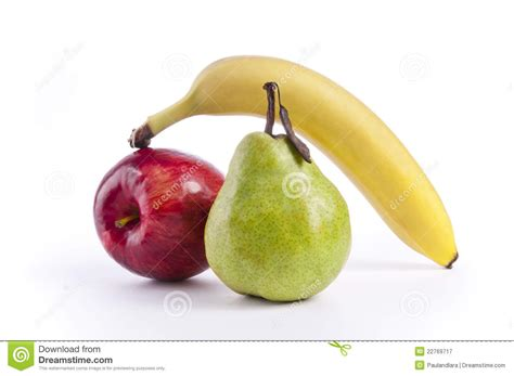 3 fruits in apple pear and banana royalty free stock photography