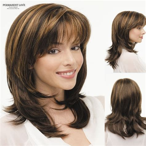 highlights for black hair and layered for ladies over 50 synthetic layered wigs brown blonde highlights straight