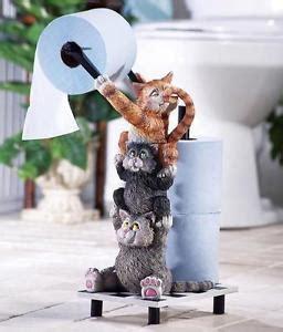 black white kitty toilet paper holder whimsical playful kitty cats bathroom toilet paper holder