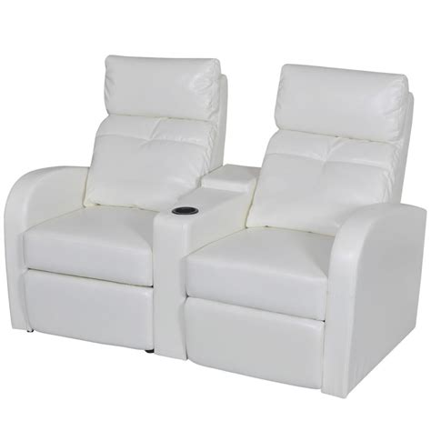 White Leather Sofa Recliner Artificial Leather Home Cinema Recliner Reclining Sofa 2 Seat White Vidaxl