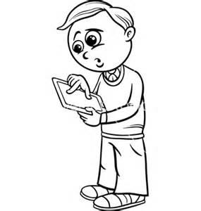 Grade School Boy Cartoon Coloring Page Vector By Igor Zakowski  Image sketch template