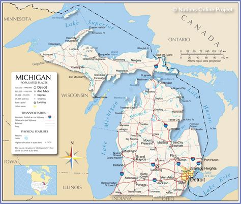 usa map michigan state reference maps of michigan usa nations project