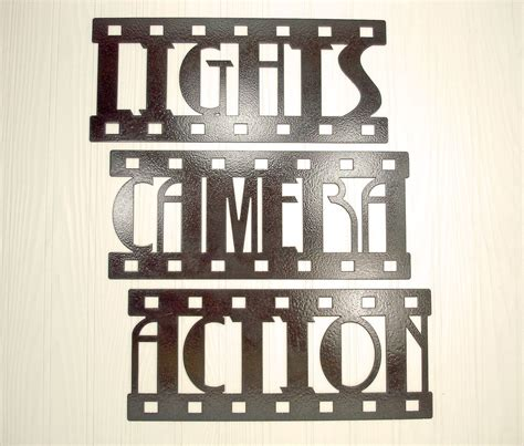 home theatre wall decor lights camera action new metal wall art home theater
