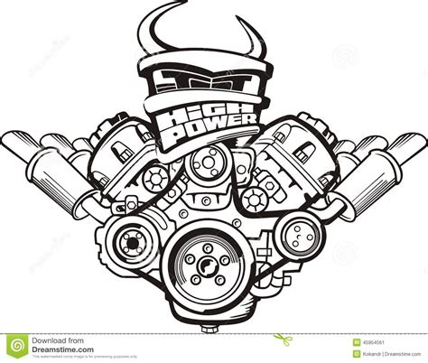doodle engine high power engine stock vector image of energy