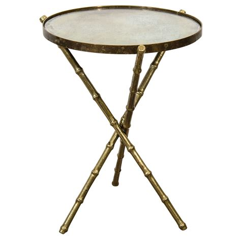 Tripod Side Table Mid Century Italian Brass Faux Bamboo Tripod Side Table W Mirrored Top At 1stdibs