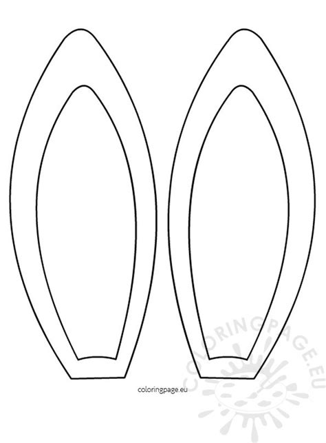 bunny ears template ear outline colouring pages