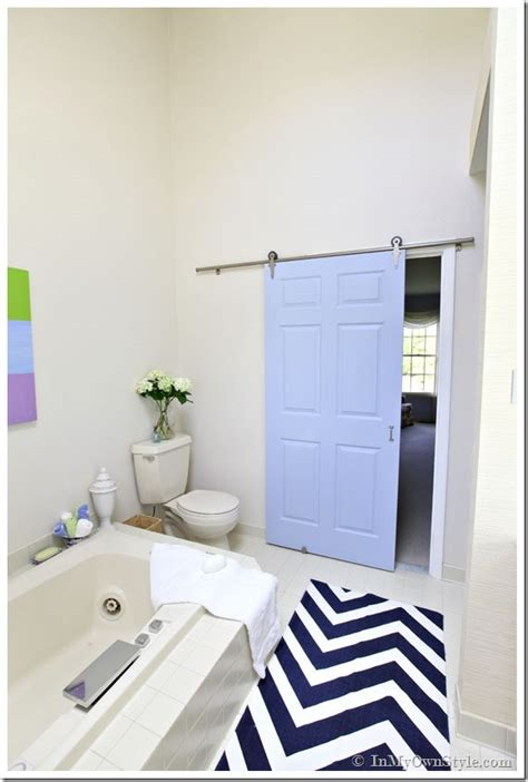 bathroom door ideas bathroom gets a makeover using rolling door hardware inmyownstyle