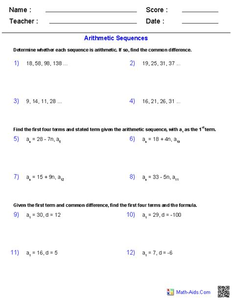 recursive pattern exles grade 6 algebra 2 worksheets sequences and series worksheets