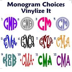 create monogram initials monogram initials vinyl decal sticker create personalized gifts ebay
