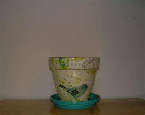 decoupage clay pots ideas handmade decoupage terra cotta clay flower pot bird collage