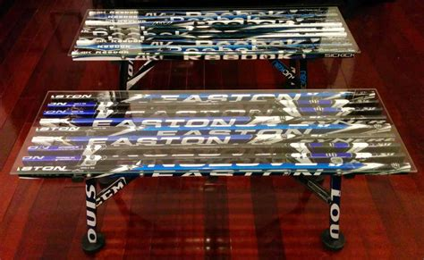 coffee table � glass top hockey stick builds