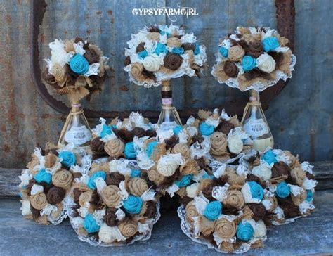 burlap bouquet teal brown   Turquoise Burlap and Lace