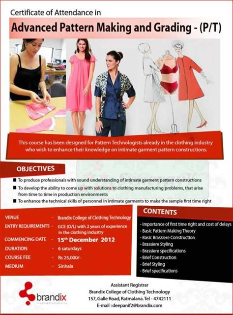 pattern maker salary in sri lanka certificate in advance pattern making and grading p t