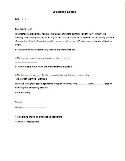 Warning Letter To Employee For Misbehaviour With Manager