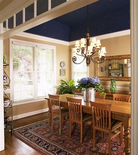 Navy Blue Ceiling by Navy Blue Ceiling In Dining Room Wall Treatments