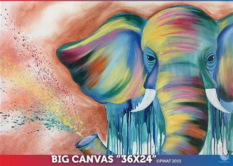 paint nite elephant elephant in color 24 quot x 36 quot canvas sunday march 11