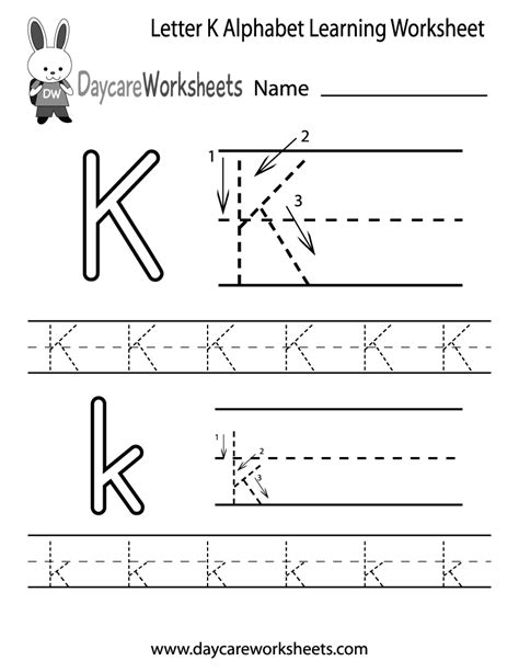 free printable letter worksheets for pre k free letter k alphabet learning worksheet for preschool