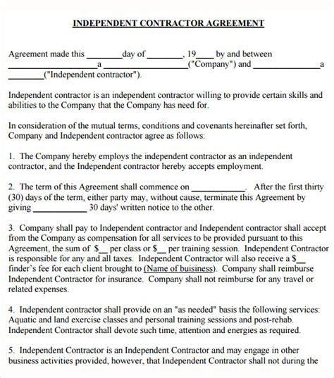 free independent contractor contract template sle subcontractor agreement 10 free documents