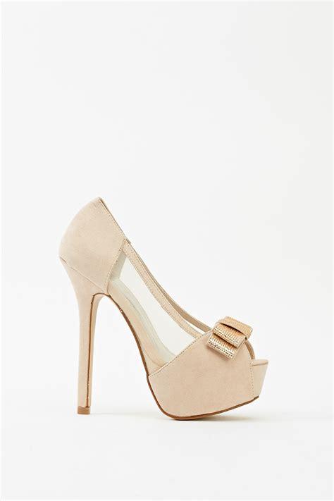 mesh high heels mesh insert encrusted bow high heels just 163 5