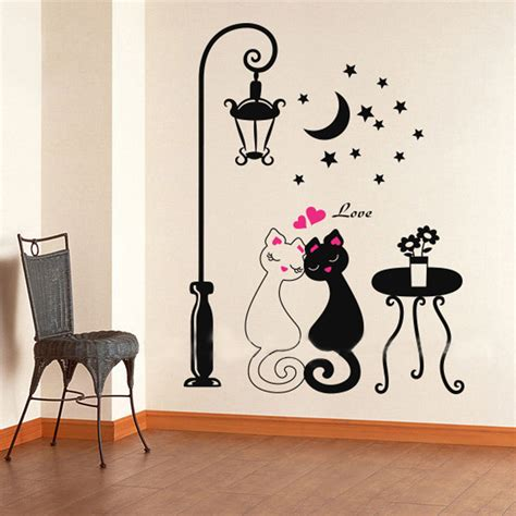 cat home decor aliexpress com buy 2016 cut black couple cat wall