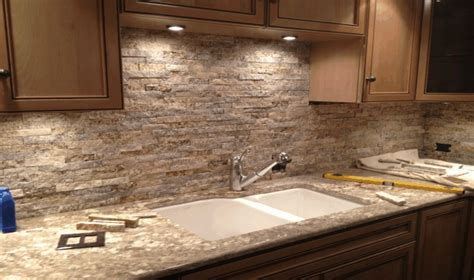 kitchen stone backsplash ideas stacked stone backsplash kitchens pinterest