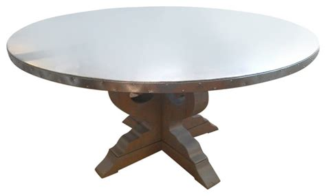 lob table with galvanized metal top contemporary
