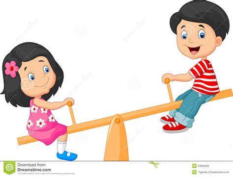 picture illustration cartoon kids see saw stock vector illustration of