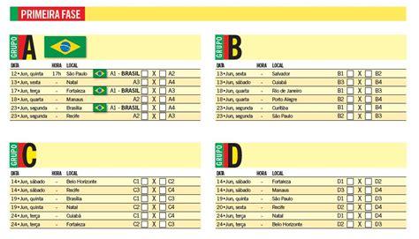 Calendario Copa Tabela Copa Do Mundo 2014