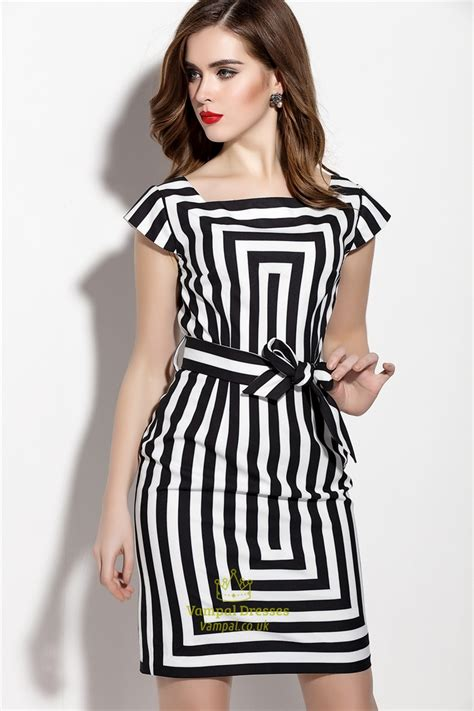 Striped Sleeve Dress white and black striped cap sleeve cocktail dress with
