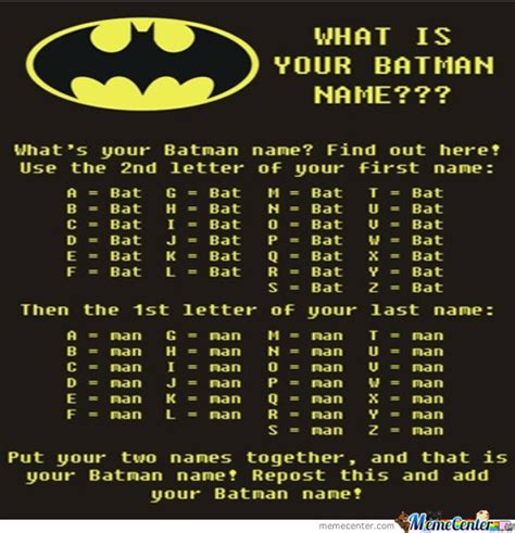 Find Your Meme - find out your batman name by sameer16 meme center