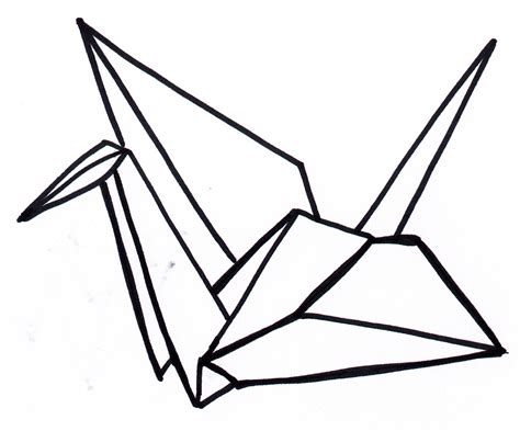 Origami Crane Drawing - drawing of a paper crane clipart best