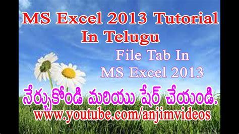 Excel 2013 Tutorial In Telugu | ms excel 2013 tutorial in telugu explain about file tab