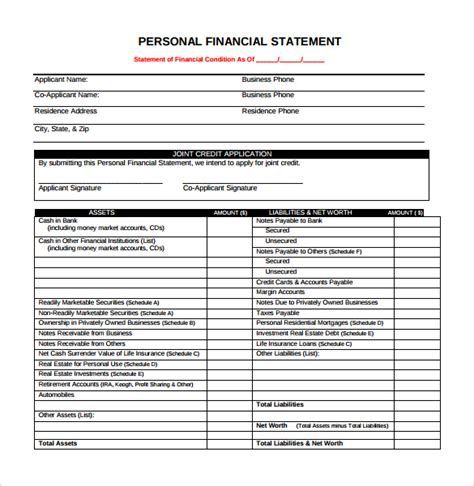 financial statement template pdf personal financial statement form 14 free sles