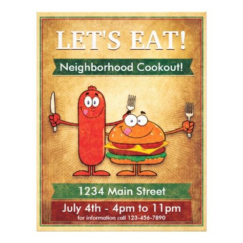 cookout flyer template let s eat neighborhood cookout flyer zazzle