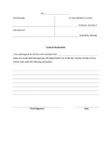 printable general declaration legal pleading template