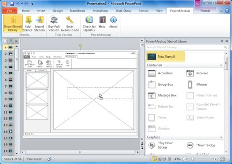 Sketch Wireframes Of Websites In Ms Powerpoint With Powermockup Powerpoint Presentation Powerpoint Wireframe Template