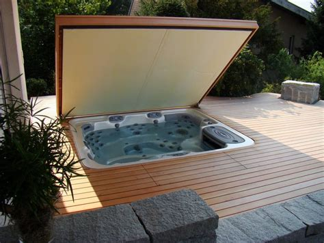 Backyard Spa Cover tub cover and deck idea spa outdoor spa living