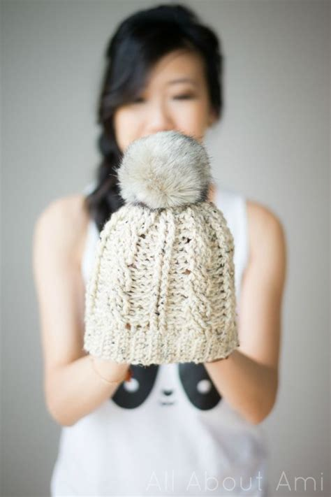 Subtle Version Of The Pom Pom Hat by Cabled Beanie Version 2 All About Ami Bloglovin