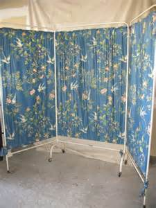 vintage hospital three section rolling room divider by